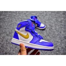 """Air Jordan 1 Kids """"Gold Medal"""" Royal Blue/Metallic Gold-White"""