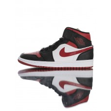 "60% OFF Air Jordan 1 Mid ""Bred To"" 554724-066 Black Red White"