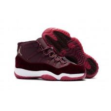 Air Jordan 11 Retro - 2017 Air Jordan 11 Velvet Maroon Gold Flower Print Men?s Basketball Shoes