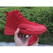 Air Jordan 12 Retro - 2017 Air Jordan 12 Red Suede Christmas Red Mens Basketball Shoes