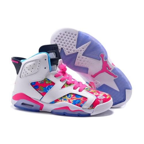f71d5c163462 -57 % Air Jordan 6 GS - 2018 Air Jordan 6 GS Floral Print Pink White Shoes